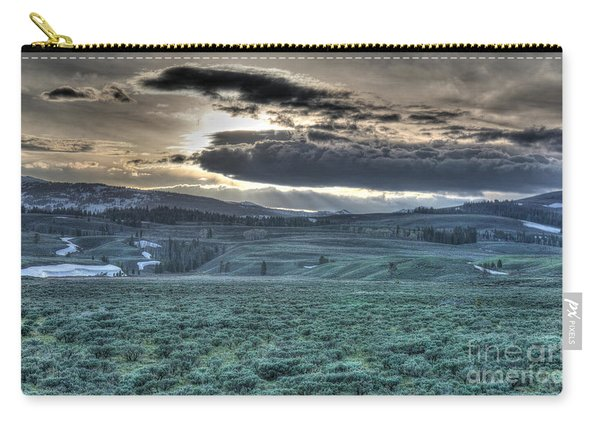 Carry-all Pouch featuring the photograph Sunrise At A Small Pond In Yellowstone by Bill Gabbert