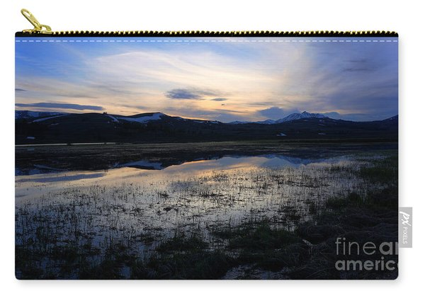 Carry-all Pouch featuring the photograph Sunset At A Lake Near Mammoth In Yellowstone by Bill Gabbert