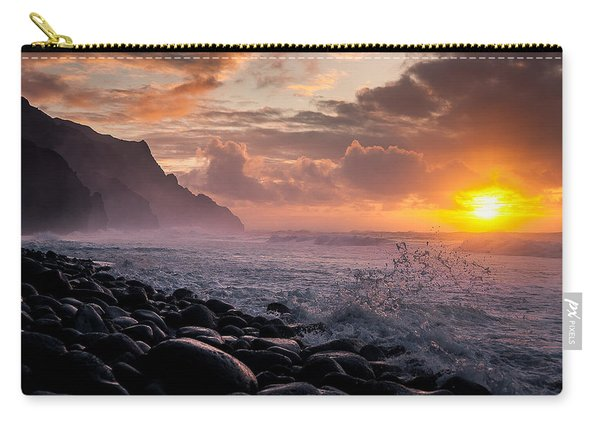 Carry-all Pouch featuring the photograph Sunset On The Kalalau by Tim Newton
