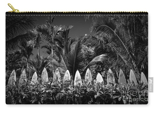 Surf Board Fence Maui Hawaii Black And White Carry-all Pouch