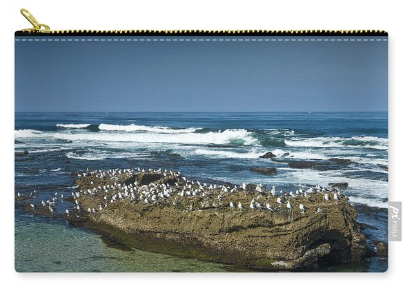Surf Waves At La Jolla California With Gulls Perched On A Large Rock No. 0194 Carry-all Pouch
