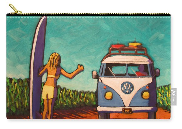 Surfer Girl And Vw Bus Carry-all Pouch