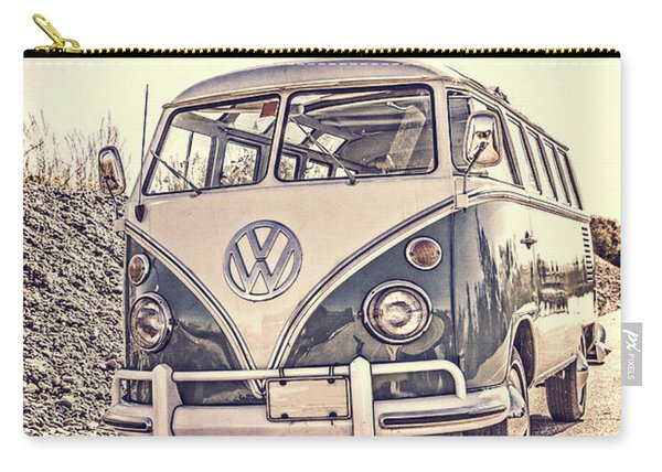 Surfer's Vintage Vw Samba Bus At The Beach Carry-all Pouch