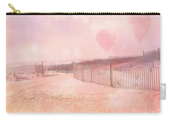 Surreal Dreamy Pink Coastal Summer Beach Ocean With Balloons Carry-all Pouch