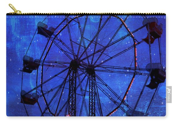 Surreal Fantasy Dark Blue Ferris Wheel Starry Night - Blue Ferris Wheel Carnival Decor Carry-all Pouch