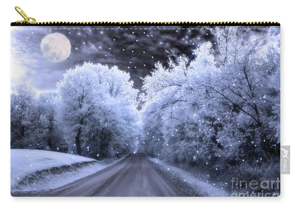 Blue Moon Full Moon Surreal Fantasy Fairytale Blue Moon Stars Nature Winter Landscape Carry-all Pouch