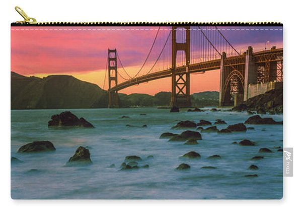 Suspension Bridge Across A Bay At Dusk Carry-all Pouch