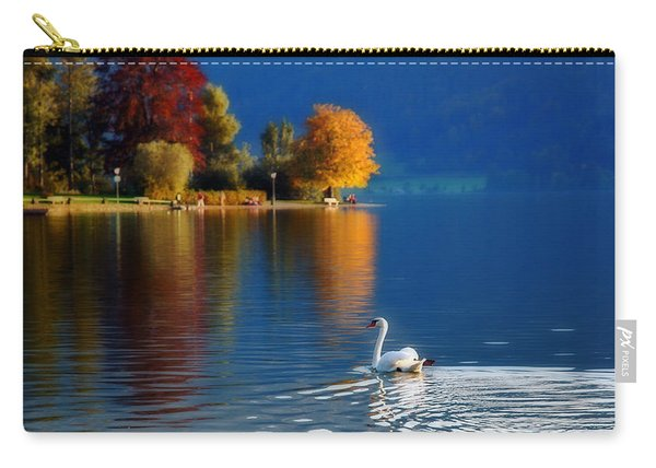 Beautiful Autumn Swan At Lake Schiliersee Germany  Carry-all Pouch