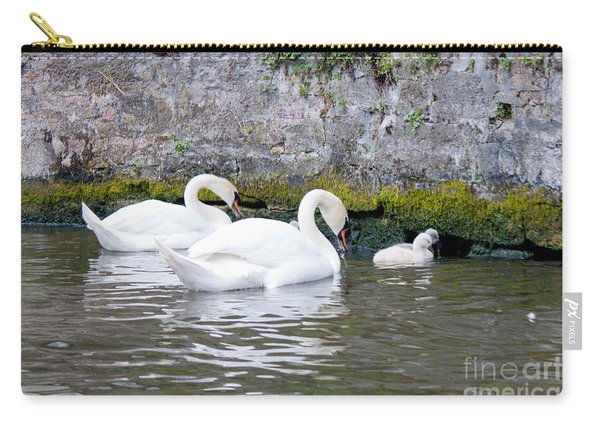 Swans And Cygnets In Brugge Canal Belgium Carry-all Pouch