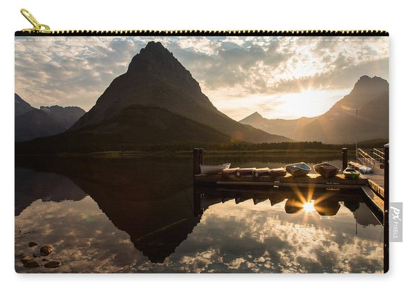 Swiftcurrent Lake Boats Reflection And Flare Carry-all Pouch