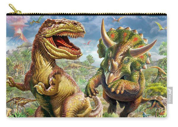 T-rex And Triceratops Carry-all Pouch