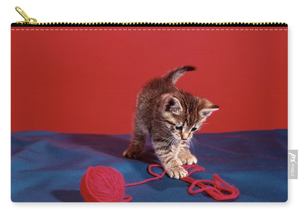 Tabby Cat Kitten Playing With Red Yarn Carry-all Pouch