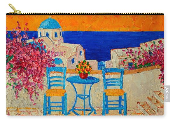 Table For Two In Santorini Greece Carry-all Pouch