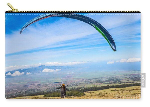 Take Off - Paraglider Taking Off High Over Maui. Carry-all Pouch