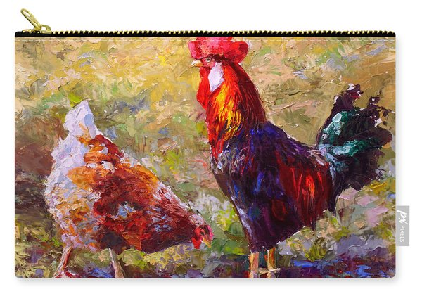 Rooster And Hen Farm Art Chicken Painting  Carry-all Pouch