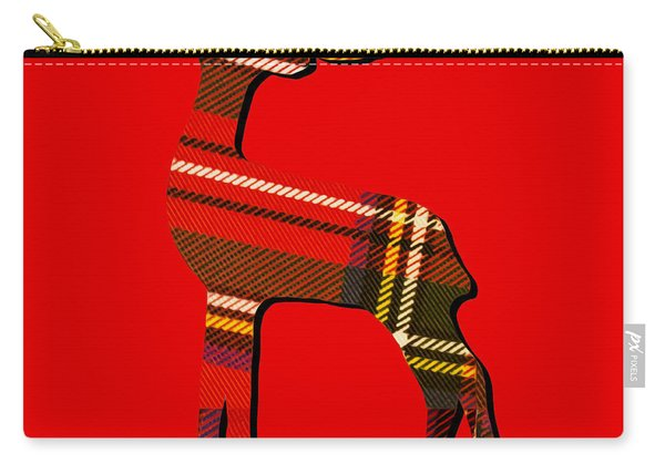 Tartan Christmas Reindeer On Red Carry-all Pouch