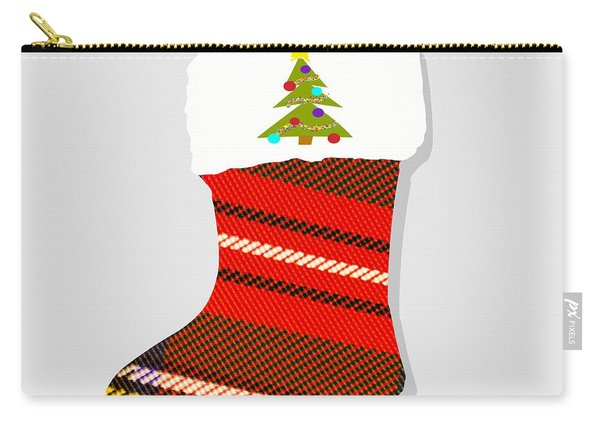 Tartan Christmas Stocking On Grey Carry-all Pouch