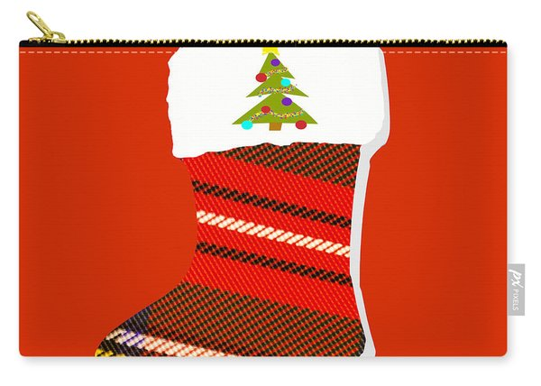 Tartan Christmas Stocking On Red Carry-all Pouch