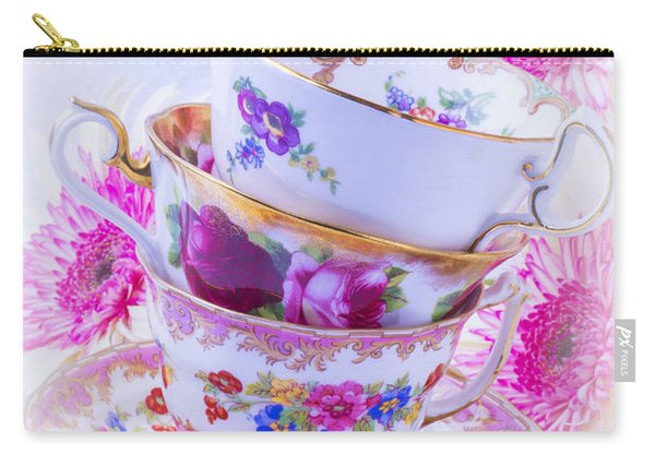 Tea Cups With Pink Mums Carry-all Pouch