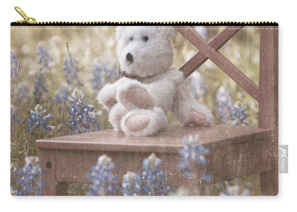 Teddy Bear And Texas Bluebonnets Carry-all Pouch