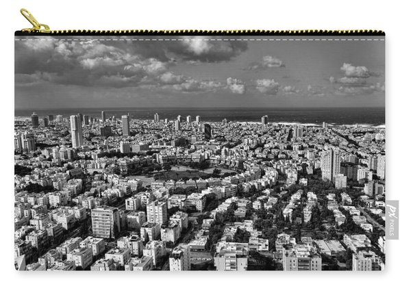 Tel Aviv Center Black And White Carry-all Pouch