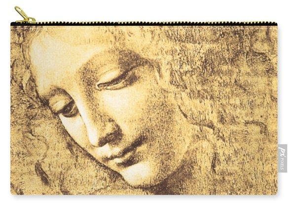 Carry-all Pouch featuring the painting Testa Di Fanciulla Detta La Scapigliata by Leonardo Da Vinci