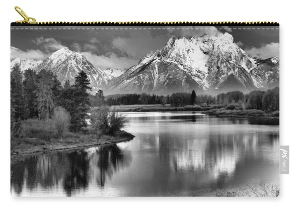 Tetons In Black And White Carry-all Pouch