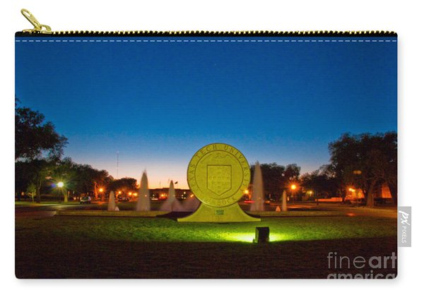 Carry-all Pouch featuring the photograph Texas Tech Seal At Night by Mae Wertz