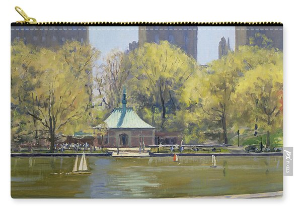 The Boating Lake, Central Park, New York, 1997 Oil On Canvas Carry-all Pouch