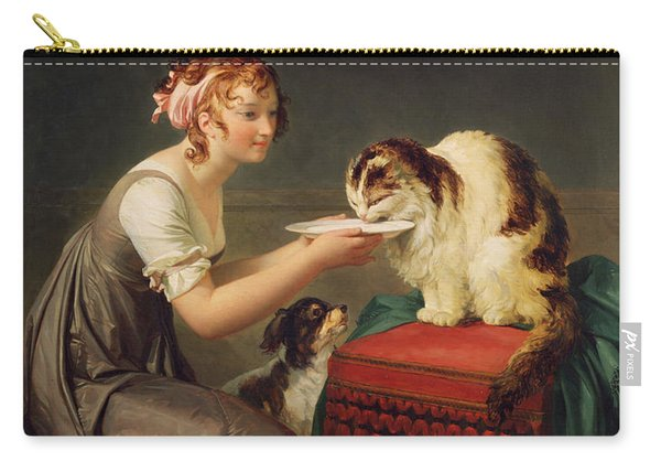 The Cats Lunch Oil On Canvas Carry-all Pouch