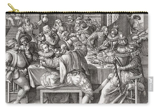 The Feast, After A 17th Century Engraving By N. De Bruyn.  From Illustrierte Sittengeschichte Vom Carry-all Pouch
