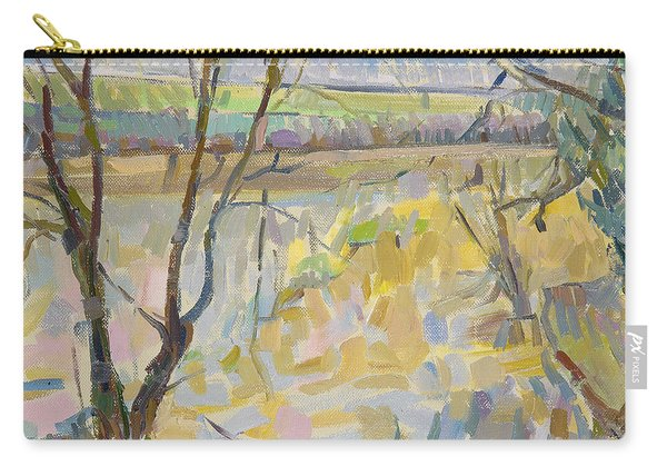 The Flooded Cherwell From Rousham II Oil On Canvas Carry-all Pouch
