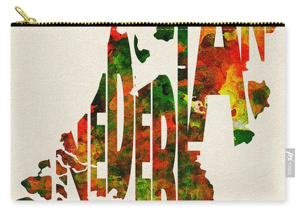 The Netherlands Typographic Watercolor Map Carry-all Pouch