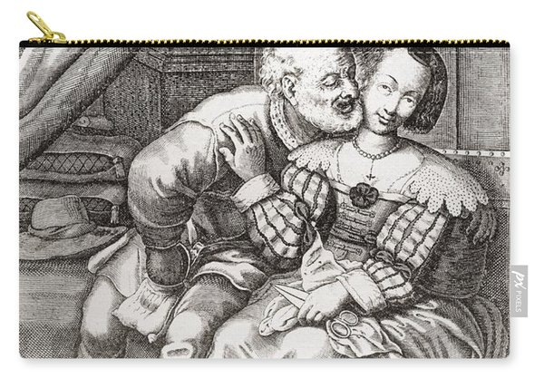 The Old Prurient, After A 16th Century French Engraving By Jaspar Isaac.   From Illustrierte Carry-all Pouch