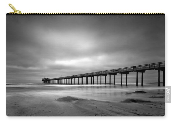 The Scripps Pier - Black And White Carry-all Pouch