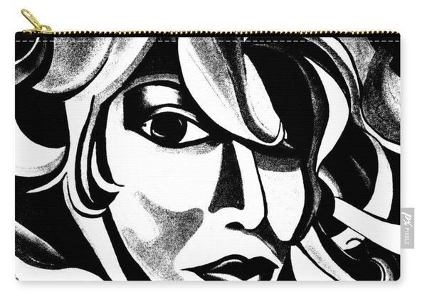 Black And White Abstract Woman Face Art Carry-all Pouch