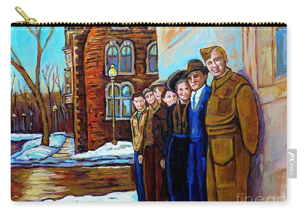 The War Years 1942 Montreal St Mathieu And De Maisonneuve Street Scene Canadian Art Carole Spandau Carry-all Pouch