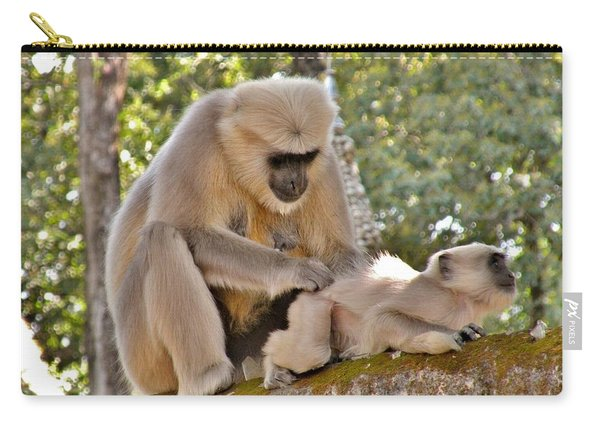 There Is Nothing Like A  Backscratch - Monkeys Rishikesh India Carry-all Pouch