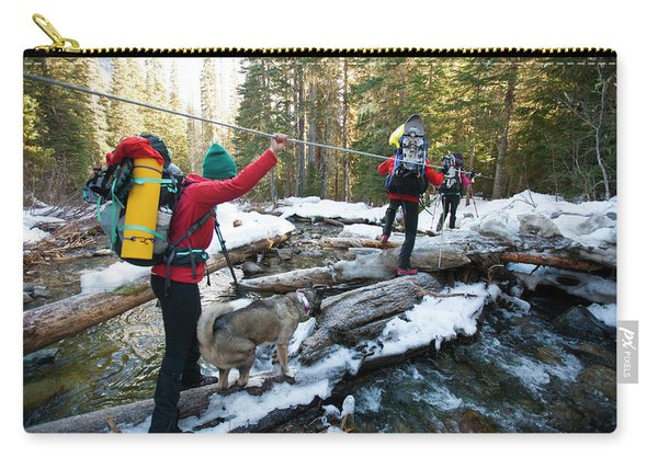 Three Backpackers And A Dog Cross Carry-all Pouch