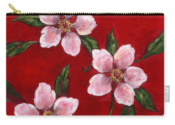 Three Blossoms On Red Carry-all Pouch
