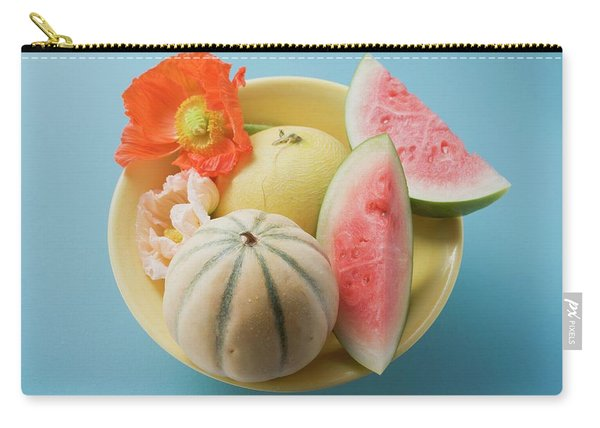 Three Different Melons In Bowl (overhead View) Carry-all Pouch