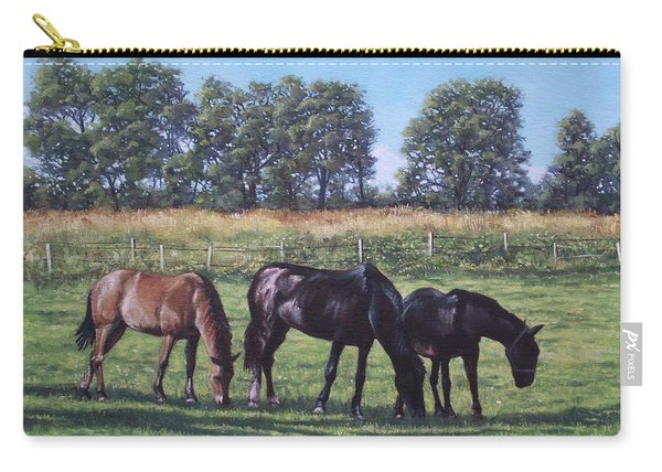 Carry-all Pouch featuring the painting Three Horses In Field by Martin Davey