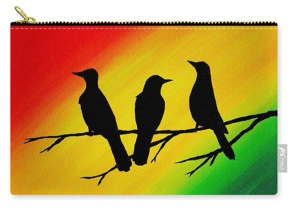 Three Little Birds Original Painting Carry-all Pouch