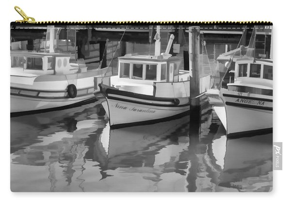 Three Little Boats Black And White Carry-all Pouch