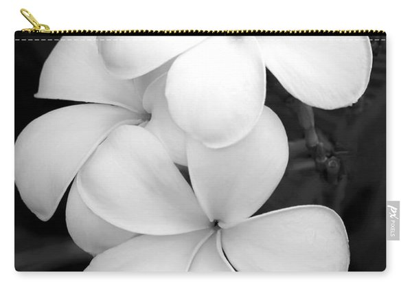 Three Plumeria Flowers In Black And White Carry-all Pouch