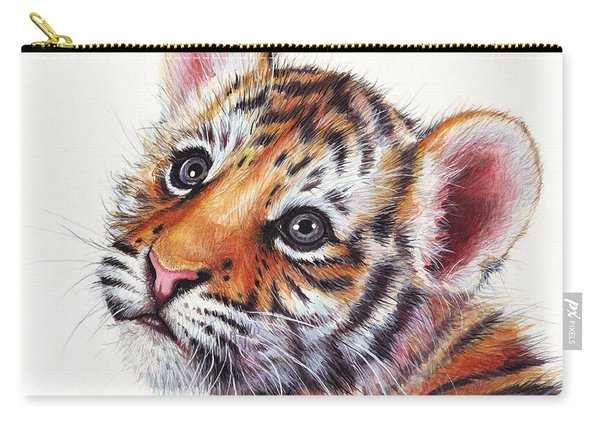 Tiger Cub Watercolor Painting Carry-all Pouch