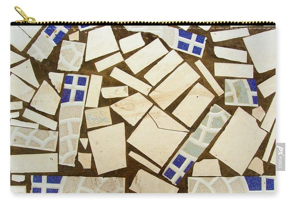 Tile Pieces In Brown Grout Carry-all Pouch