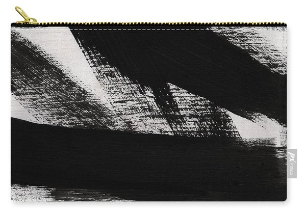 Timber 2- Horizontal Abstract Black And White Painting Carry-all Pouch