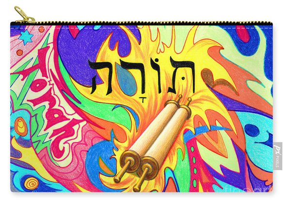 Carry-all Pouch featuring the painting Torah by Nancy Cupp