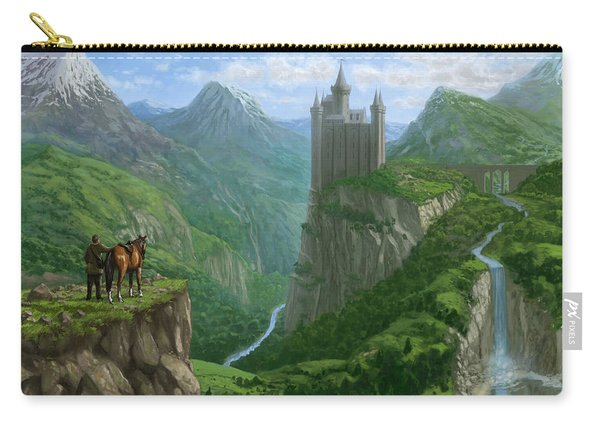 Carry-all Pouch featuring the painting Traveller In Landscape With Distant Castle by Martin Davey